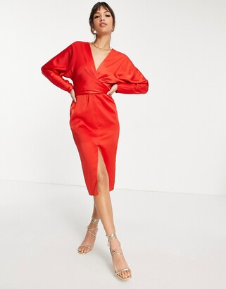 ASOS DESIGN midi dress with batwing sleeve and wrap waist in satin red