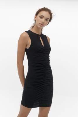 Urban Outfitters Brogan Ruched Mesh Mini Dress - black M at