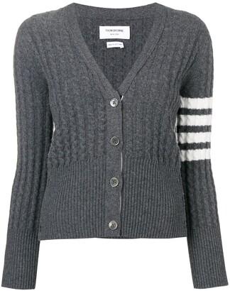 Thom Browne 4-Bar stripe cable-knit cardigan