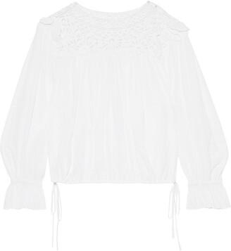 Etoile Isabel Marant Rock Guipure Lace-paneled Crinkled Cotton-gauze Blouse