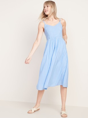 Old Navy Fit & Flare Striped Cami Midi Dress for Women
