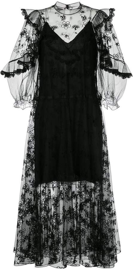 Chloé embroidered voile peasant dress