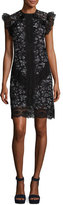 Rebecca Taylor High-Neck Sleeveless Ruffled-Trim Lace Mini Dress