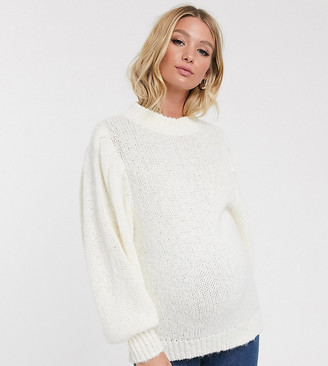 ASOS DESIGN Maternity sweater in lofty yarn with volume sleeve