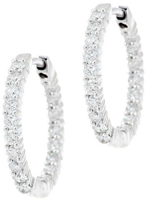 Affinity Diamond Jewelry Affinity 1.00 cttw Diamond Inside Out Hoop Earrings, 14K