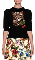 Dolce & Gabbana Leopard & Cherry Print Crewneck Elbow-Sleeve Wool-Cashmere Sweater