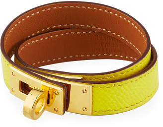 Hermes Estate Epsom Kelly Double-Tour Leather Bracelet, Yellow