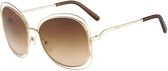 Chloé Carlina Butterfly-Frame Sunglasses, Rose Golden