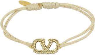 Valentino Crystal V Logo Slim Bracelet