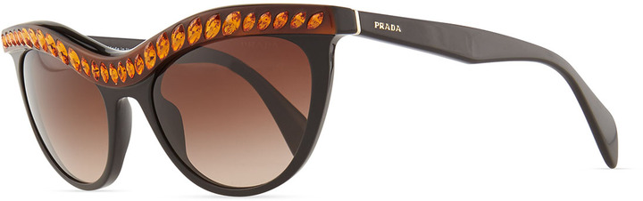 Prada Amber Crystal-Encrusted Cat-Eye Sunglasses, Havana/Black