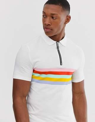 Asos Design DESIGN organic cotton muscle zip neck polo with body stripes-White