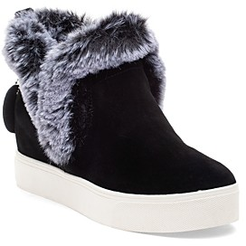 J/Slides Women's Sean Faux Fur Trim Waterproof Sneaker Booties