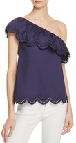 Aqua One Shoulder Eyelet Ruffle Top- 100% Exclusive