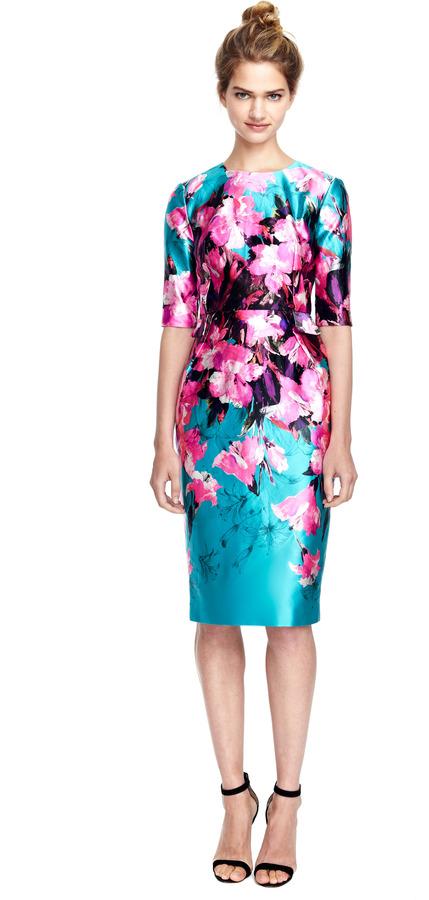 Prabal Gurung Floral Printed Fitted Satin Dress