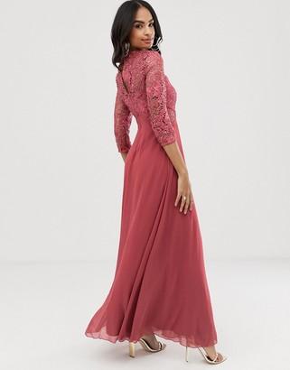 Little Mistress long sleeve crochet maxi dress