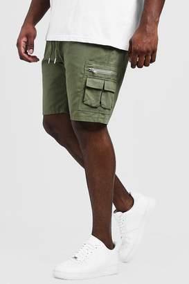 BoohoomanBoohooMAN Mens Green Big & Tall Utility Shorts With Elasticated Waist Band, Green