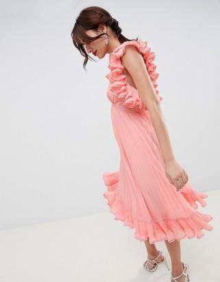 Asos Design DESIGN Premium Occasion Ruffle Back Pleated Midi Dress-Pink