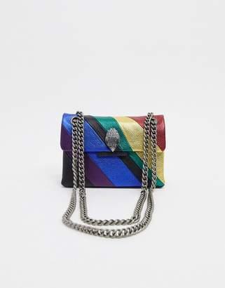 Kurt Geiger London Mini Kensington leather rainbow cross body bag with chain strap-Multi