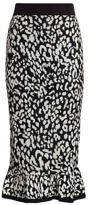 Victor Glemaud Snow Leopard Knit Midi Skirt