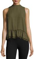 Romeo & Juliet Couture Chiffon Ruffle-Hem Tank Top, Olive