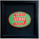 One Kings Lane Vintage Framed Hotel Scribe Paris Luggage Label