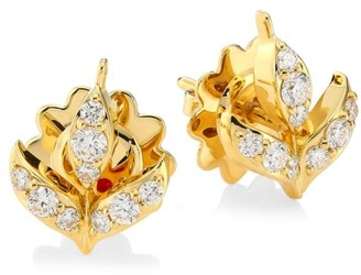 Roberto Coin Disney's Frozen 2 x 18K Yellow Gold & Diamond Wheat Sheaf Stud Earrings
