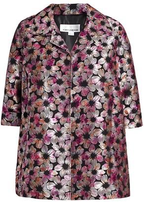 Caroline Rose, Plus Size Fiesta Floral Jacquard Coat