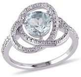 Concerto Blue Topaz Inifinity Ring with 0.09 to 0.11 Total Carat Weight Diamonds