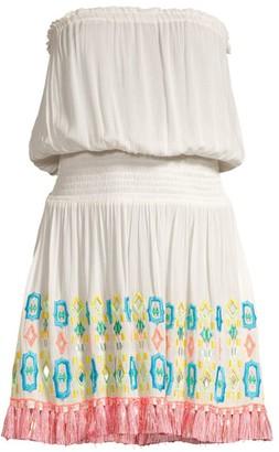 Ramy Brook Isobel Strapless Blouson Fringe Dress