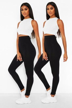 boohoo 2 Pack Core Highwaist Basic Jersey Leggings