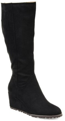 Brinley Co. Womens Wide Calf Comfort Lug Sole Wedge Boot
