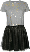 RED Valentino star printed T-shirt dress with tulle skirt