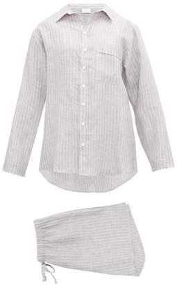 Pour Les Femmes - Striped Linen Pyjamas - Womens - Grey Stripe