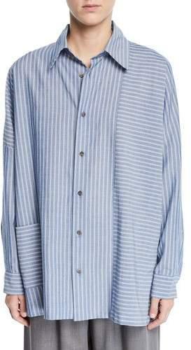 eskandar Wide-Striped Paneled Button-Front Shirt