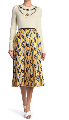 Gucci Wallpaper Print Silk Pleated Midi Skirt