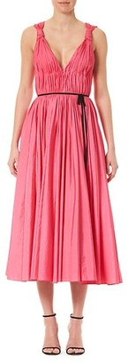 Carolina Herrera Sleeveless Taffeta V-Neck Bow Dress