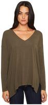 Michael Stars Lycra Jersey Long Sleeve V-Neck w/ Side Slits Women's Clothing