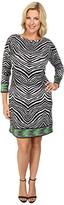 MICHAEL Michael Kors Size Long Sleeve Zebra Boatneck Border Dress