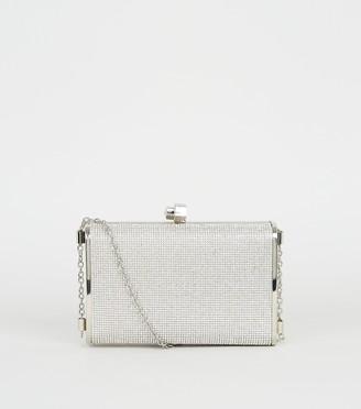 New Look Diamante Box Clutch Bag