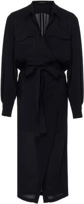 Derek Lam Asymmetrical Silk Placket Shirt Dress With Belt