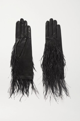 Agnelle Feather-trimmed Leather Gloves - Black