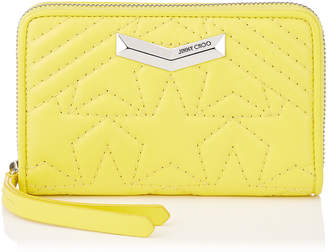 Jimmy Choo LEA Fluroscent Yellow Star Matelasse Nappa Leather Medium Zip Around Wallet