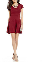 Moa Moa Criss-Cross Neck Knit Fit-And-Flare Dress