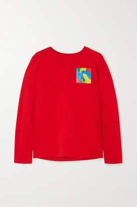 Moschino Appliqued Cotton-jersey Top - Red
