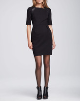 Nanette Lepore Moonstone Leather-Detail Dress, Black