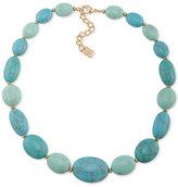 Lauren Ralph Lauren Gold-Tone Large Blue Stone Statement Necklace