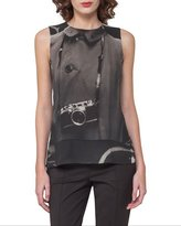 Akris Camera Trompe l'Oeil Sleeveless Silk Top, Black
