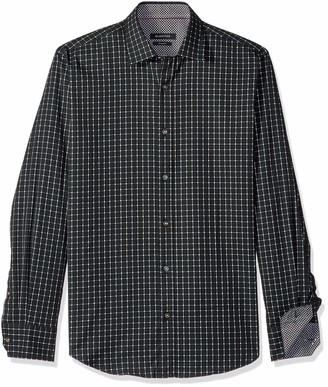 Bugatchi Men's Shaped Fit Long Sleeve Graph Check Cotton Shirt