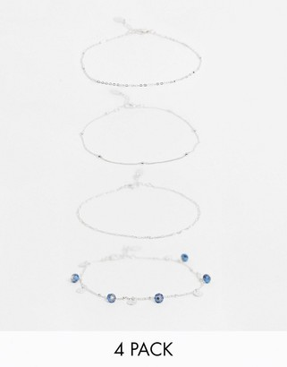 Accessorize pack of 4 chain anklets in silver