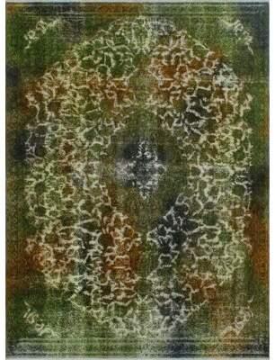 "Green & Black Isabelline One-Of-A-Kind Treva Hand-Knotted 3'6"" x 6'7"" Wool Green/Black Area Rug Isabelline"